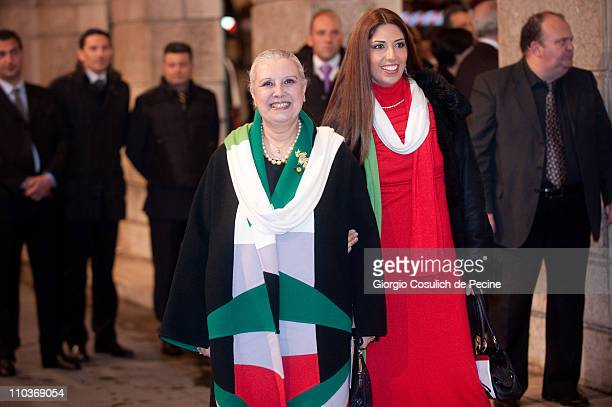 Italian fashion designer Laura Biagiotti and her daughter Lavinia arrive at the Teatro dell'Opera to attend the Giuseppe Verdi's Nabucco directed by...