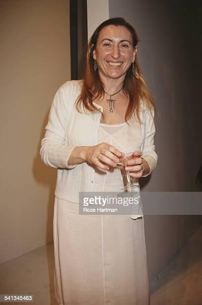 Italian fashion designer Miuccia Prada after a fashion show, 1992.