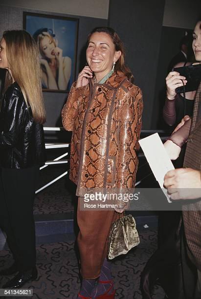 Italian fashion designer Miuccia Prada at a photographic exhibition, 1992.