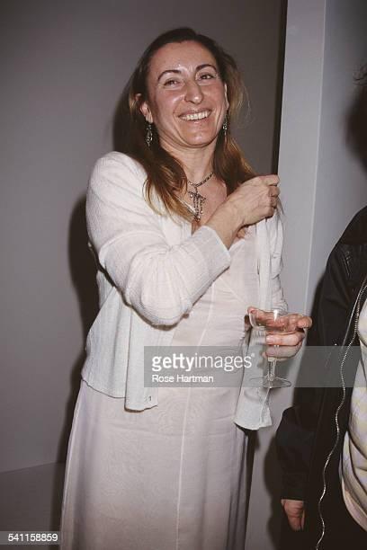 Italian fashion designer Miuccia Prada at her Miu Miu Fall 1995 Collection fashion show, USA, 1995.