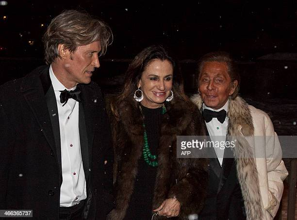 Italian fashion designer Valentino arrives at the church of Saint Nicolas to attend the eldest son of Princess Caroline of Monaco Andrea Casiraghi's...