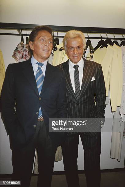 Italian fashion designer Valentino Garavani and honorary president of the Valentino Fashion House Giancarlo Giammetti at a party held by Valentino at...