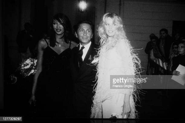 Italian fashion designer Valentino, whose real name is Valentino Garavani, and top models Naomi Campbell and Claudia Schiffer attend a party for the...