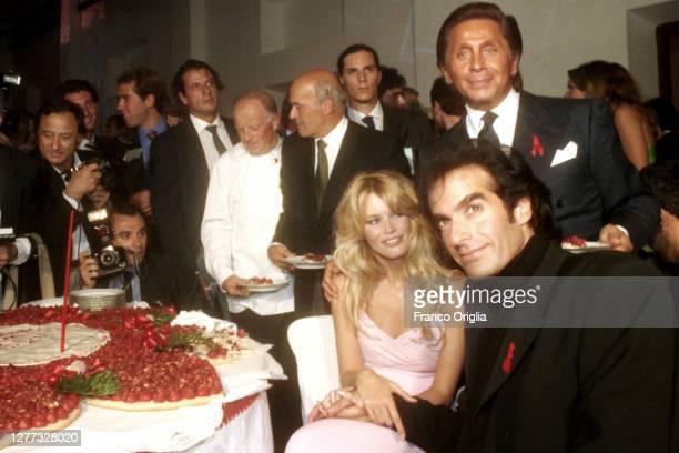 Italian fashion designer Valentino, whose real name is Valentino Garavani, top model Claudia Schiffer and David Copperfield attend a party for the...