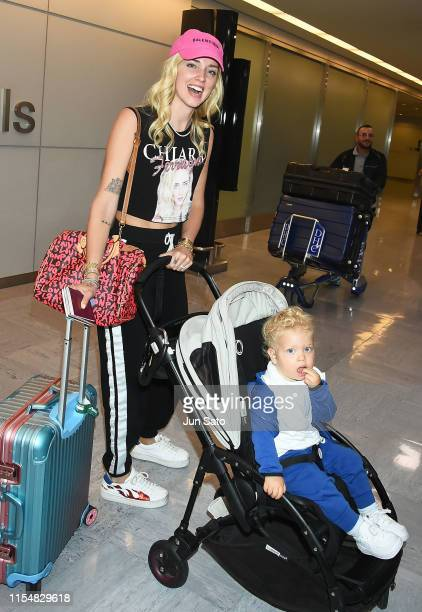Italian fashion designer/entrepreneur Chiara Ferragni and her son Leone Ferragni are seen upon arrival at Narita International Airport on July 10...