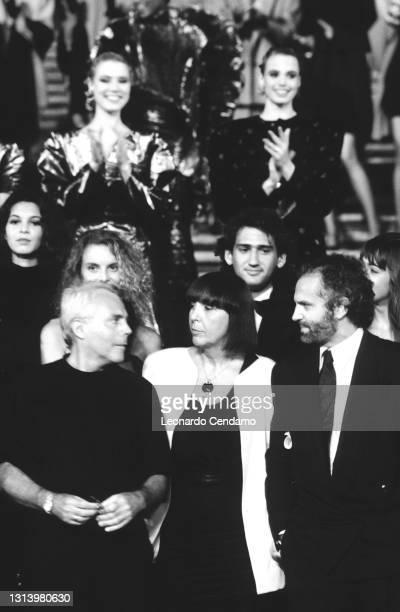 Italian fashion designers Giorgio Armani, Krizia , and Gianni Versace at an event, Rome, Italy, 20th July 1987.
