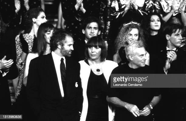 Italian fashion designers Giorgio Armani, Krizia , and Gianni Versace at an event, Rome, Italy, 20th July 1987.