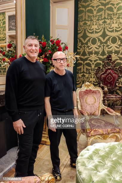 Italian fashion designers Stefano Gabbana and Domenico Dolce pose on December 2, 2020 in Milan. - The coronavirus crisis has upended the norms of the...