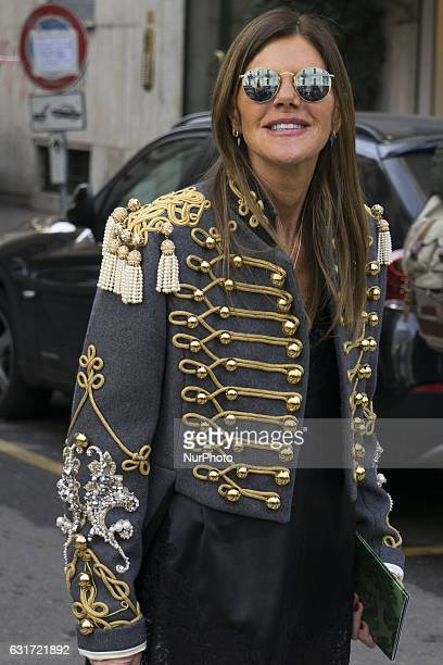 Italian fashion journalist Anna Dello Russo poses before the Dolce amp Gabbana show during Milan Men's Fashion Week Fall/Winter 2017/18 on January 14...