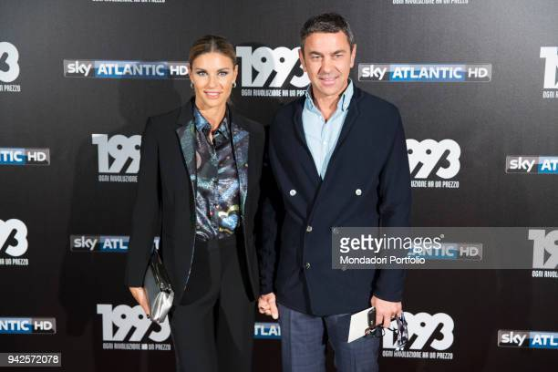 Italian fashion model Martina Colombari with her husband former football player Billy Costacurta attends the tv fiction premiere 1993 by Sky Tv at...