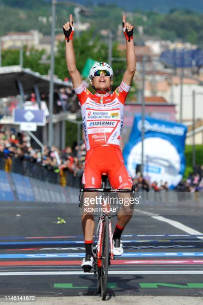 Italian Fausto Masnada of team Androni Giocattoli-Sidermec celebrates as winning the stage Cassino - San Giovanni Rotondo of the cycling Tour of...