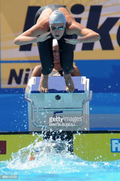 Italian Federica Pellegrini competes during the women's 4x200m freestyle qualifications on July 30 2009 at the FINA World Swimming Championships in...