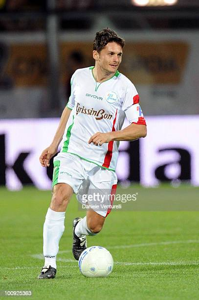 Italian Ferrari driver Giancarlo Fisichella of Telethon Team in action during the XIX Partita Del Cuore charity football game at on May 25, 2010 in...