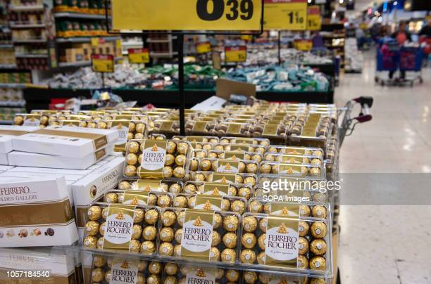 Italian Ferrero Rocher chocolate confectionery are seen displayed for sale at the Carrefour supermarket in Spain