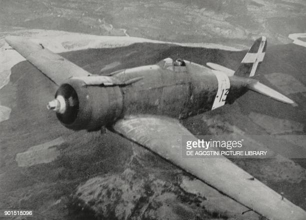 Italian Fiat G 50 fighter plane escorting bombers during a raid on the Greek front World War II from L'Illustrazione Italiana Year LXVIII No 9 March...