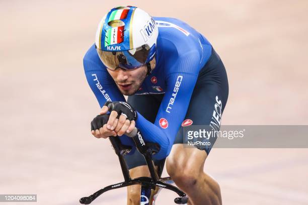 Italian Filippo Ganna competes in the men's individual pursuit final at the UCI track cycling World Championship at the velodrome in Berlin on...