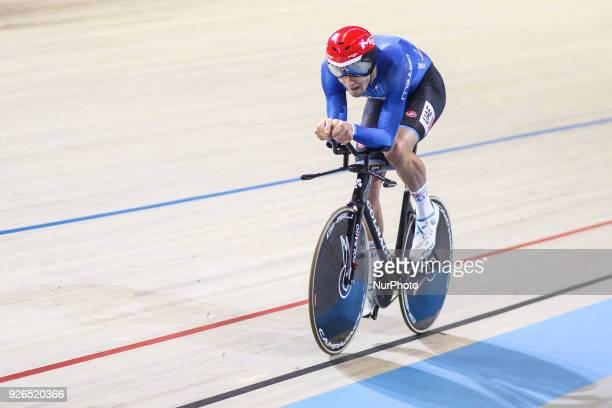 Italian Filippo Ganna competes in the men's individual pursuit race final during the UCI Track Cycling World Championships in Apeldoorn on March 2...