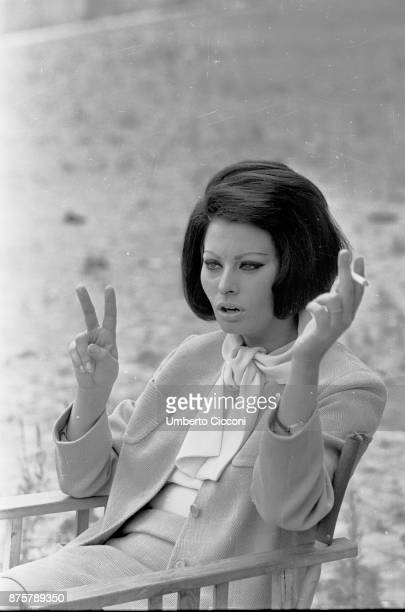 Italian film actress and singer Sophia Loren smoking a cigarette Rome Italy June 1964
