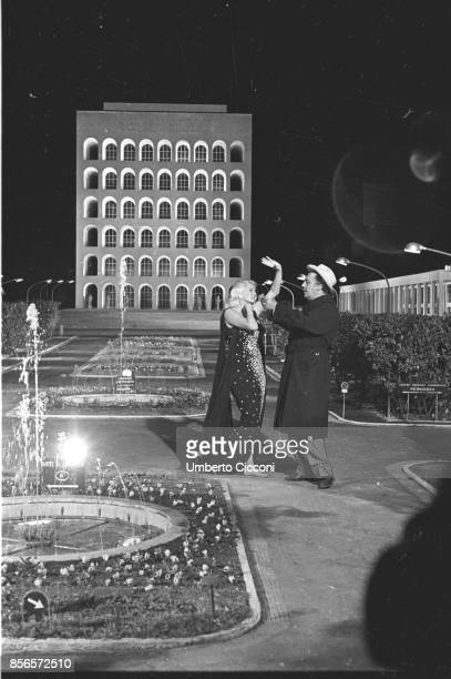 Italian film director Federico Fellini directing actress Anita Ekberg during the shooting of the movie 'Boccaccio '70', Rome EUR 1961.