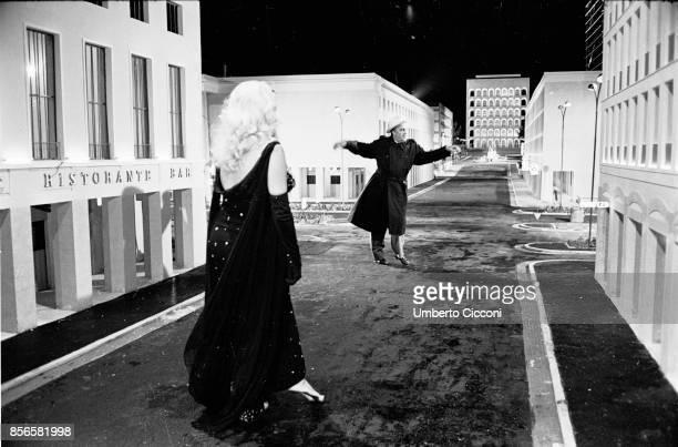 Italian film director Federico Fellini directing actress Anita Ekberg for the movie Boccaccio '70 They are in the area EUR a famous area in Rome