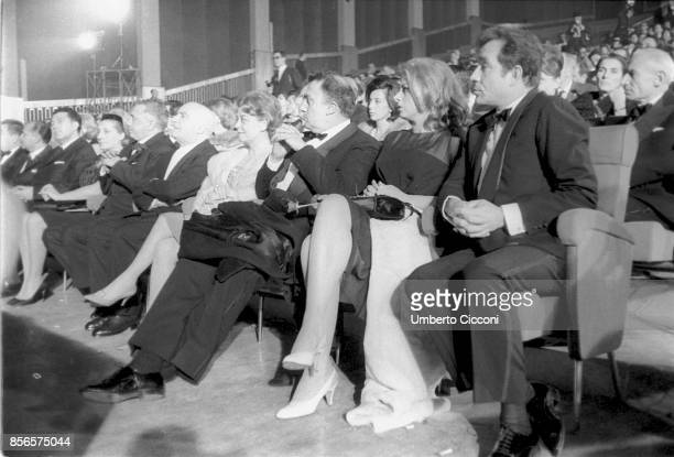 Italian film director Federico Fellini is at the theater 'Eur Cine' for the award ceremony 'Nastri D'Argento' with Angelo Rizzoli Giulietta Masina...
