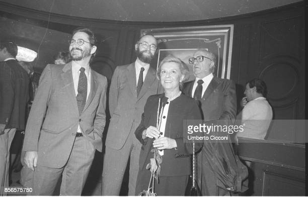 Italian film director Federico Fellini is with Giulietta Masina and Renzo Rossellini at the cinema 'Barberini' for the premiere of the movie La Nave...
