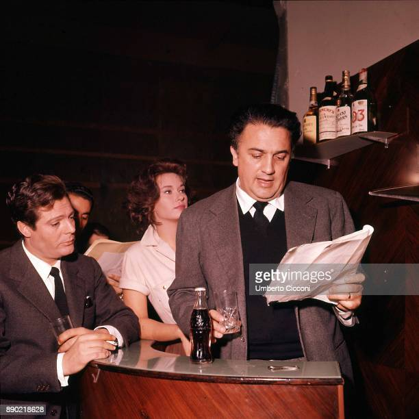 Italian film director Federico Fellini is with Italian actress Lea Massari and actor Marcello Mastroianni during the audition for the movie 'La Dolce...