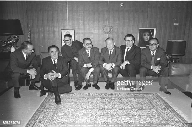 Italian film director Federico Fellini is with the Russian delegation at the De Laurentiis studios From left film director Alberto Lattuada Federico...