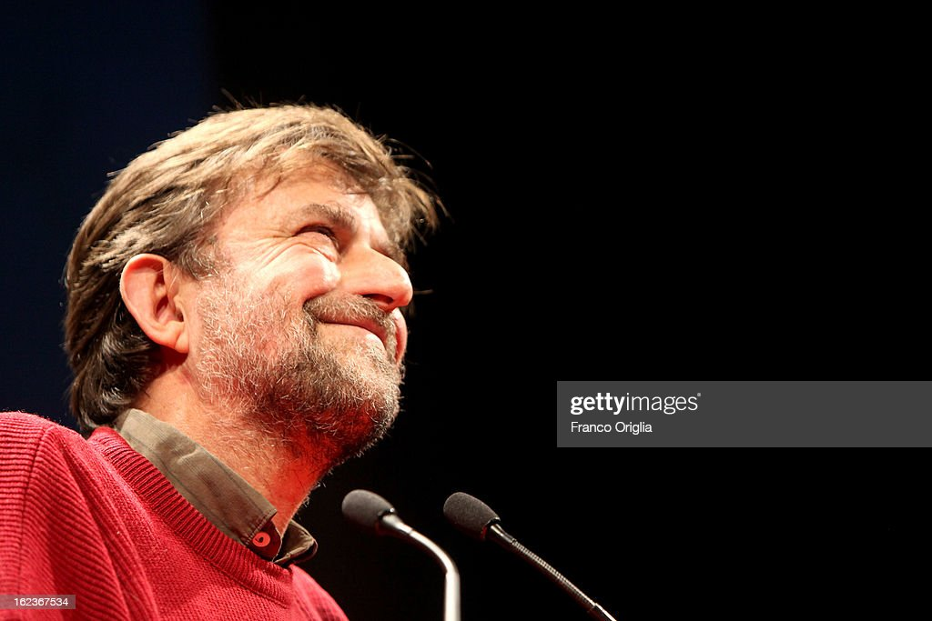 Italian film director Nanni Moretti holds a speech at the PD (Democratic Party) final campaign rally at the Ambra Jovinelli theatre on February 22, 2013 in Rome, Italy. Moretti's 2011 film 'Habemus Papam' dealt, controversially, wth a fictional abdication of Pope Benedict XVI.