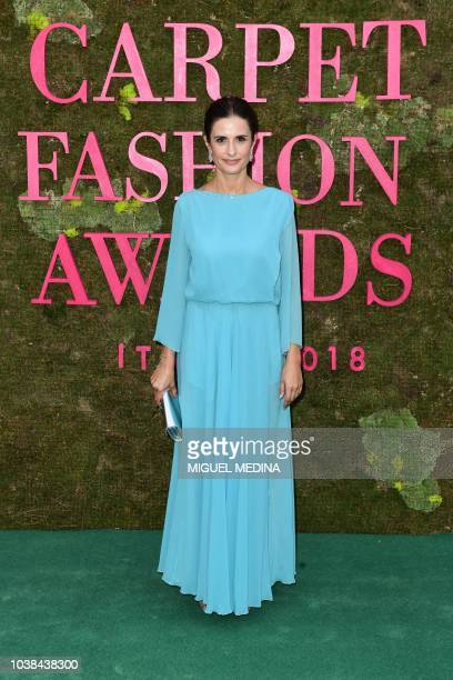 Italian film producer and creative director of Eco Age Livia Giuggioli poses as she arrives to attend the Green Carpet Fashion Awards 2018 within the...
