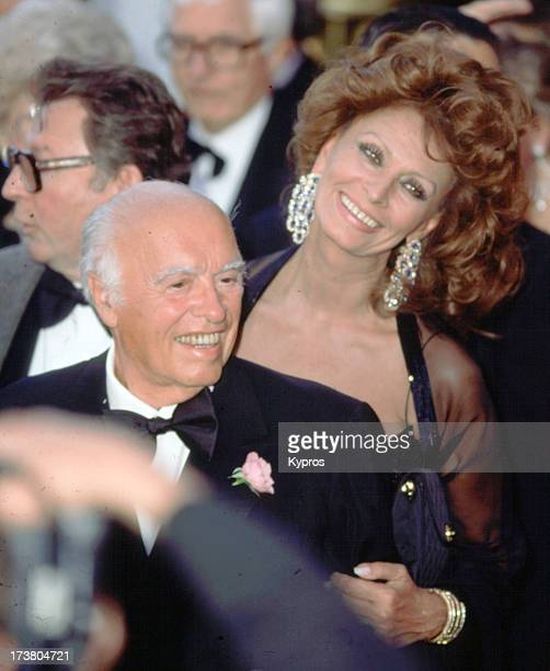 Italian film producer Carlo Ponti with his wife actress Sophia Loren circa 1992