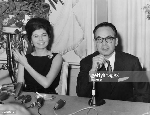 Italian film producer Dino De Laurentiis with Soraya Princess of Iran at a press conference to announce her signing as an actress Rome 18th March...