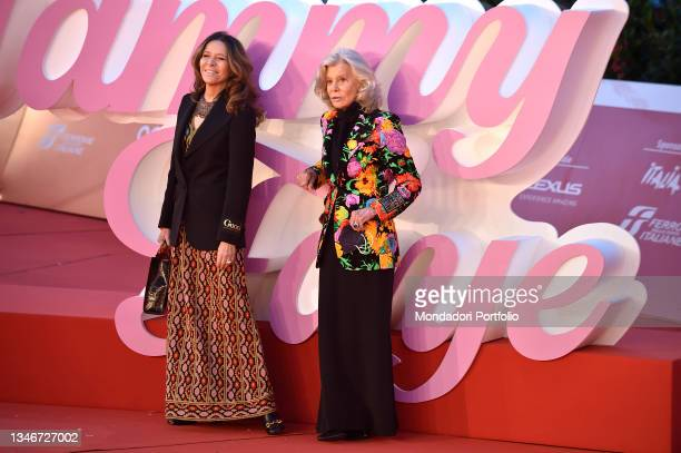 Italian film screenwriter Marina Cicogna and Benedetta Gardona at Rome Film Fest 2021. The Eyes of Tammy Faye Red Carpet. Rome , October 14th, 2021