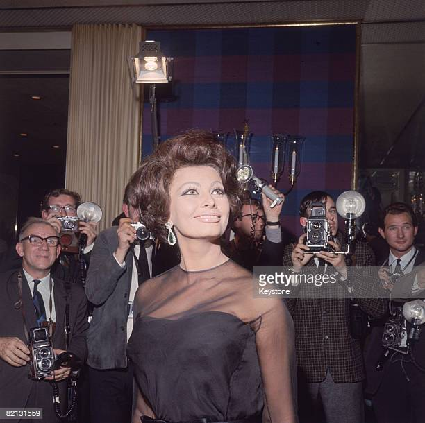 Italian film star Sophia Loren poses for photographers at the Savoy Hotel London 1st November 1965