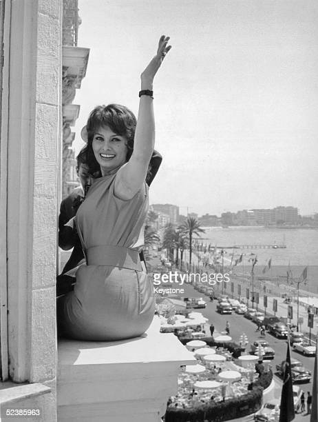 Italian film star Sophia Loren poses on the window ledge of her hotel in Cannes where she is promoting the Italian film 'Nella Citta L'Inferno' by...