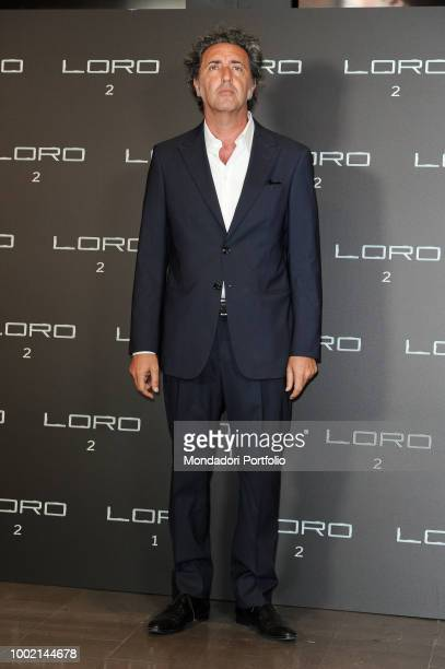 Italian film-maker Paolo Sorrentino, wearing Armani suit, at Loro 2 photocall at The Space Moderno Cinema.