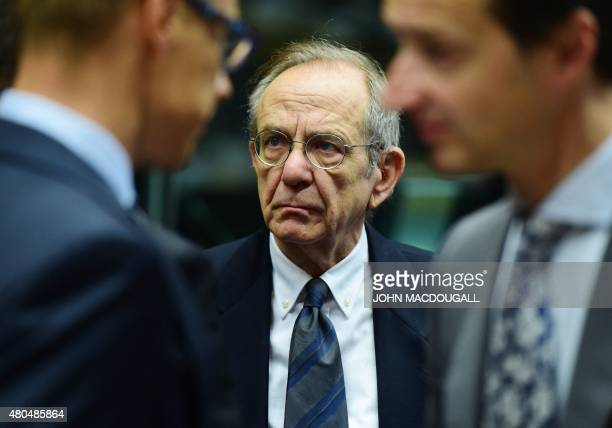 Italian Finance Minister Pier Carlo Padoan attends a meeting of the Eurogroup finance ministers in Brussels on July 12 2015 The EU cancelled a full...
