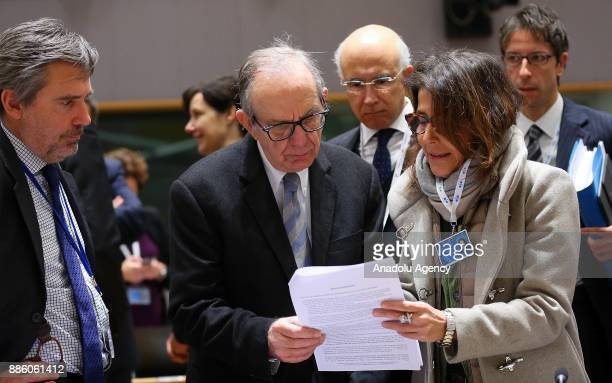 Italian Finance Minister Pietro Carlo Padoan attends the EU Economic and Financial Affairs Council focusing on tax havens list in Brussels Belgium on...