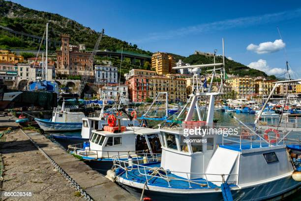 Italian fishing industry. Image taken in a harbor. Fishing backgrounds. Salerno, Italy.