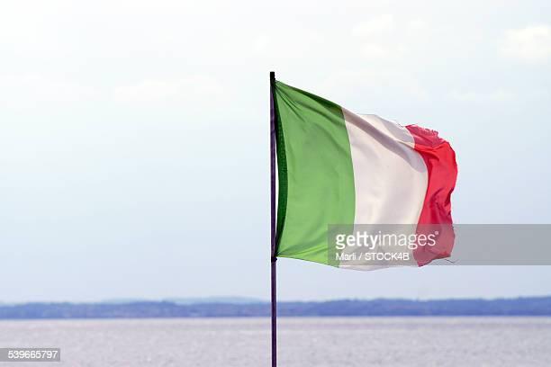 Italian flag at Lake Garda, Italy