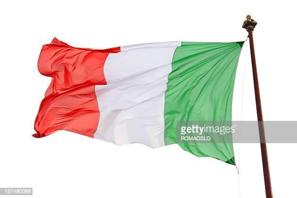 bandera italiana aislado en blanco, italia - bandera italiana fotografías e imágenes de stock