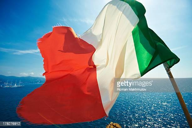 Italian flag on the seaview
