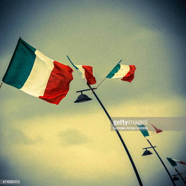 Italian flags are displayed at lamppost across the beach promenade of Rimini the day before of Challenge Triathlon Rimini on May 23 2015 in Rimini...