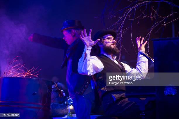 Italian Folk singer Vinicio Capossela performs with Italian actor Paolo Rossi during ' I cerini di Santo Nicola La musica dei cieli @OGR ' on...