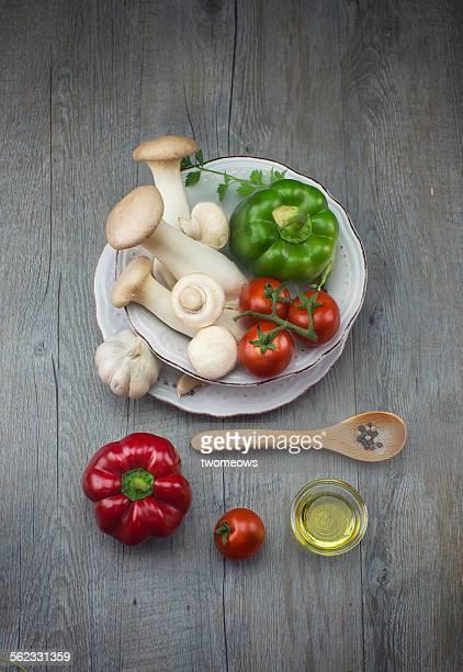 Italian food ingredient in food plate.