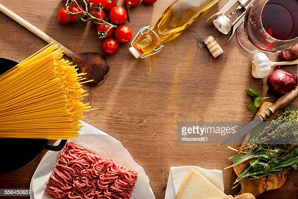 Italian Food, ingredients for Spaghetti Bolognese on wood