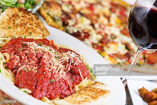 Italian food: plate of spaghetti with meatballs