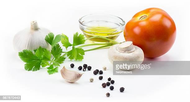 Italian food recipe raw ingredient isolated.