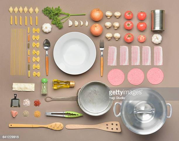 italian food shot knolling style - kitchen utensil stock pictures, royalty-free photos & images