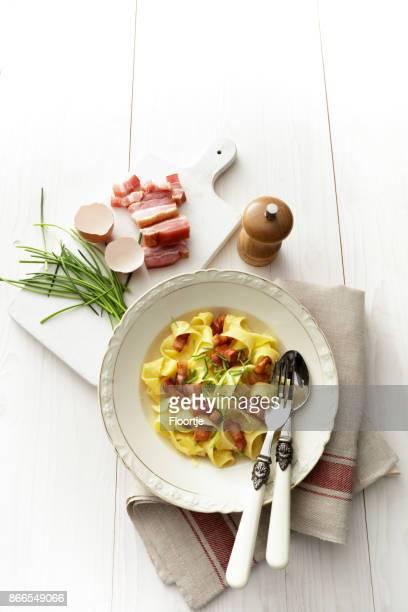 Italian Food: Tagliatelle Carbonara Still Life